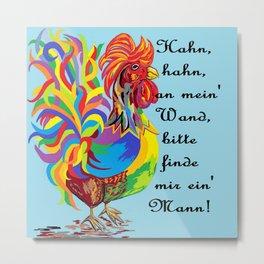 German Folklore Roosters and Husbands auf Deutsch Metal Print