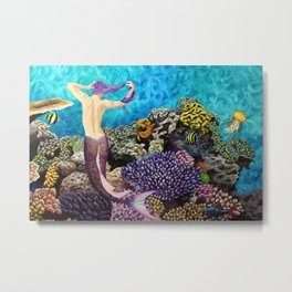Morning Routine - Mermaid seascape Metal Print