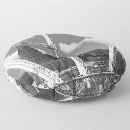 Nashville City Scape Black and White Floor Pillow