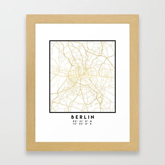 BERLIN GERMANY CITY STREET MAP ART Gerahmter Kunstdruck