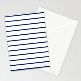 Navy and White Breton Stripes Stationery Cards