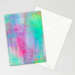 Vibrant Colorful Brush Strokes Painting // Rainbow Multicolor // Magenta Pink Yellow Green Aqua Stationery Cards