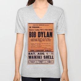 Vintage 1965 Waikiki Shell Hawaii Bob Dylan Concert Poster Unisex V-Neck