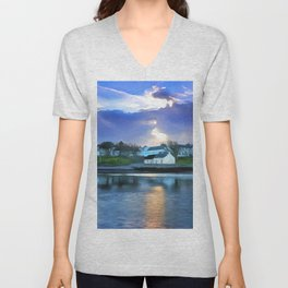 Cockle Row Cottages, Ireland. (Painting) Unisex V-Neck