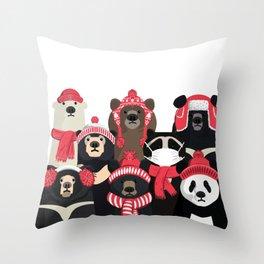 Bear family portrait: winter edition Throw Pillow