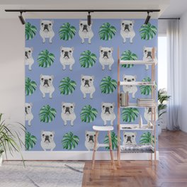 Frenchie Dog Palm Leaf (blue) Wall Mural