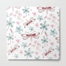 Among Dragonflies White Metal Print