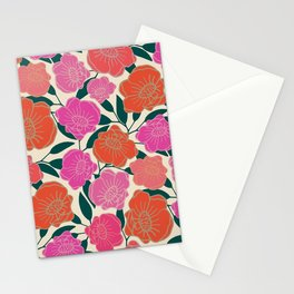 Bold Poppies in hot pink, corals and burnt orange Stationery Cards