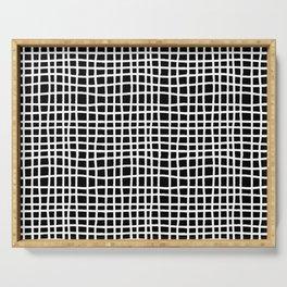 black and white random cross hatch lines checker pattern Serving Tray