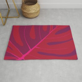 Only One Monstera Leaf in Red And Purple Colors #decor #society6 #buyart Rug