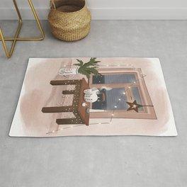 Hygge interior poster. Christmas home Rug