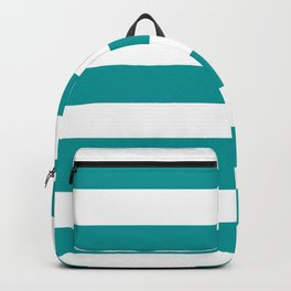 Viridian green - solid color - white stripes pattern Backpack