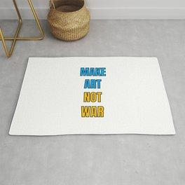 Make art not war - blue and yellow Rug