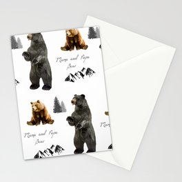 Mama and Papa Grizzly brown bear wildlife Stationery Cards