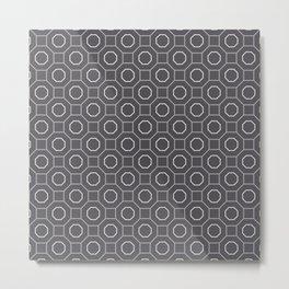 Modern Geometric Octagon Line Art Dramatic Farmhouse Noir Gray Metal Print