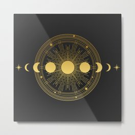 Abstract composition with sun, moon, orbits and stars on black background. Metal Print