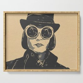 Charlie and the Chocolate Factory Willy Wonka Artistic Illustration Stamp Style Serving Tray