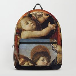 Sandro Botticelli - Madonna and Child with Saint John the Baptist and Two Angels Backpack