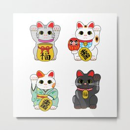Lucky Cat / Maneki Neko Metal Print