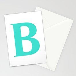 B MONOGRAM (TURQUOISE & WHITE) Stationery Cards