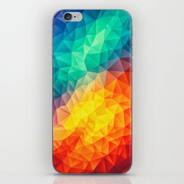 Abstract Polygon Multi Color Cubism Low Poly Triangle Design iPhone Skin