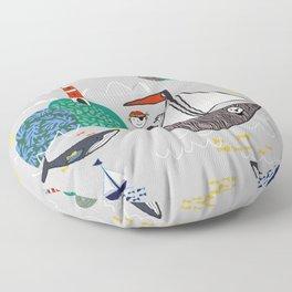 Pirates Ahoy Grey Floor Pillow