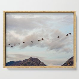 Migration of the Birds // Mountain and Sky Meets Nature Landscape Photography of Wildlife Serving Tray