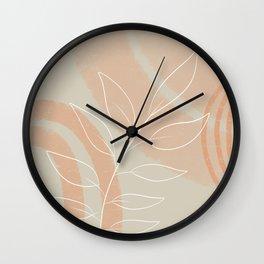 Orange Grey Beige Modern Abstract Leaves Wall Clock