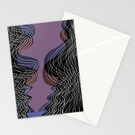 Parallel Lines No.: 02. in Purple - Shifted - White Lines Stationery Cards