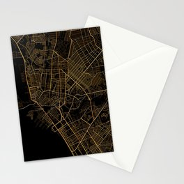 Black and gold Manila map Stationery Cards