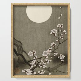 Blossoming plum tree at full moon  - Vintage Japanese Woodblock Print Art Serving Tray