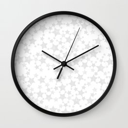 Block Print Silver-Gray and White Stars Pattern Wall Clock