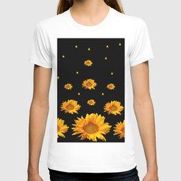GOLDEN STARS YELLOW SUNFLOWERS  BLACK COLOR T-shirt