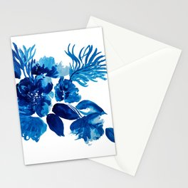 Blue watercolor flowers and stems Stationery Cards