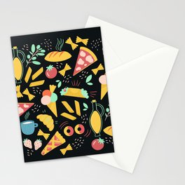 Italian food - Black chalkboard  Stationery Cards