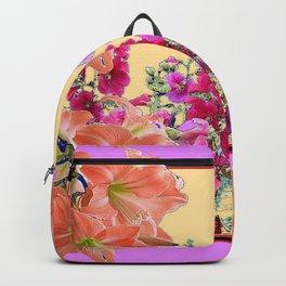 DECORATIVE SPRING GARDEN FUCHSIA- YELLOW COLOR FLORALS Backpack