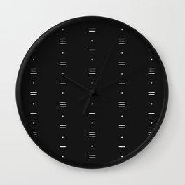 Dashes & Dots - Minimalist Line Pattern - Black Wall Clock