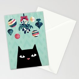 Mistletoe? (Black Cat) Stationery Cards