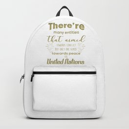 Only one aimed towards peace - the United Nations Backpack