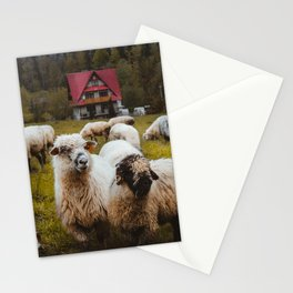Flock of sheep , mountain village view print Stationery Cards