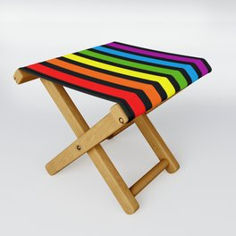 Rainbow & Black colorful stripes Folding Stool