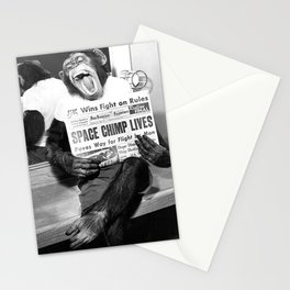 Space Chimp Lives - NASA Moon Flight black and white photograph Stationery Cards