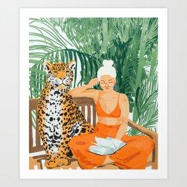 Jungle Vacay, Tropical Nature Painting, Woman & Wildlife, Tiger Palms Illustration, Fashion Kunstdrucke