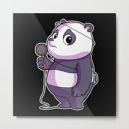 Panda Singer Musician Karaoke Metal Print