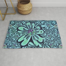 flowers of love in the fantasy forest of namaste pop-art Rug