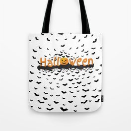 Halloween Time. Happy Halloween. Scary pumpkin with bats flying around Tote Bag