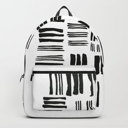 Prime Number 83 Black White Abstract Drawing Minimalist Lines Monochrome Backpack