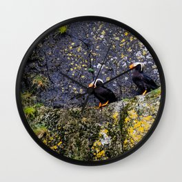Tufted Puffins Wall Clock