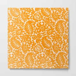 Orange Spice Floral Pattern Metal Print