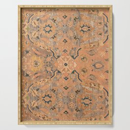 Persian Motif IV // 17th Century Ornate Rose Gold Silver Royal Blue Yellow Flowery Accent Rug Patter Serving Tray